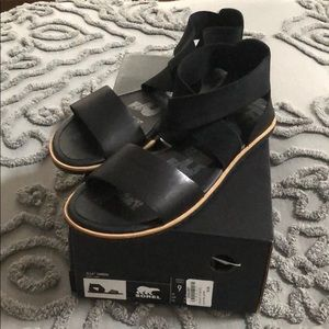 Slide on black strappy sandal